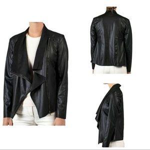 MOTE Faux Suede Moto Drape Asymmetrical Zip Jacket